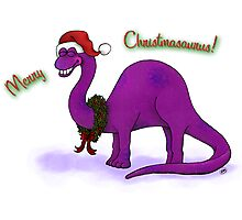 Merry Christmas Dinosaur Photographic Print