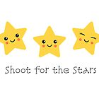 Shoot for the stars, cute greeting card and postcard by MheaDesign