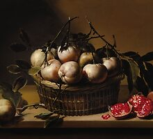 LOUYSE MOILLON ; STILL LIFE WITH A BASKET OF BITTER ORANGES AND POMEGRANATES ON A LEDGE by Adam Asar