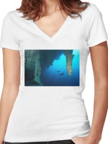 Blue Hole Belize Women's Fitted V-Neck T-Shirt