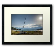 Abandonned boat by the lake Framed Print