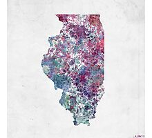 Illinois map cold color Photographic Print