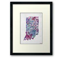 indiana map cold color Framed Print
