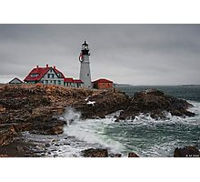 Portland Headlight @ Christmas Photographic Print