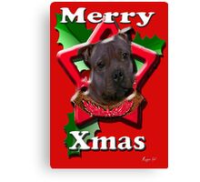 Staffordshire Bull Terrier says Merry Xmas Canvas Print