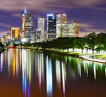 Yarra River by Night, Melbourne, Victoria, Australia by Michael Boniwell