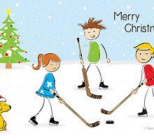 Kids Hockey Christmas Card by SaucyMitts