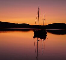 red sunset at lewisham with yacht . by Christine Lovell