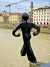 The Common man walks off a bridge, again, Florence, Italy by buttonpresser