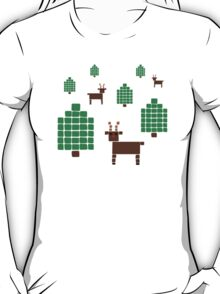 Reindeer in Forest- Faux Sweater Christmas Design T-Shirt