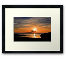 Sunset From Degibna Over Loe Bar, Cornwall Framed Print