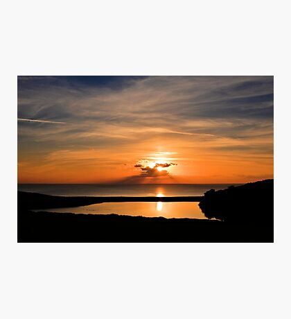 Sunset From Degibna Over Loe Bar, Cornwall Photographic Print