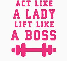 Look Like A Lady Lift Like A Boss (Pink) Womens Fitted T-Shirt