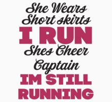 She Wears Short Skirts, I Run (Black, Pink) by Fitspire Apparel