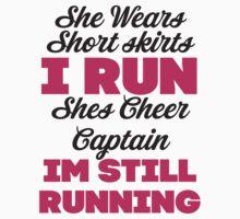 She Wears Short Skirts, I Run (Black, Pink) Kids Tee