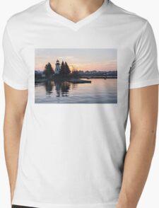 Soft Rose Daybreak at the Lighthouse Mens V-Neck T-Shirt