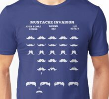Funny Mustache Invaders T Shirt Video Game Parody Unisex T-Shirt