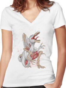 Resurgence of Ancient Lizards - Spinosaurus Women's Fitted V-Neck T-Shirt