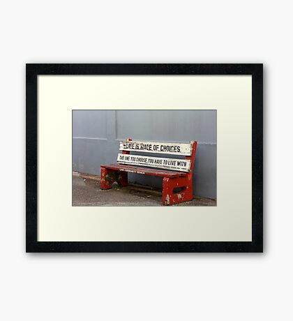 Advice From A Community Bench Framed Print