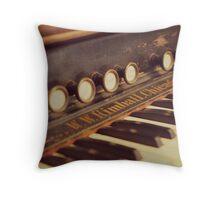 Vintage Organ Keys Throw Pillow