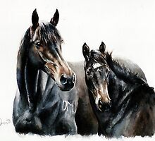 Mare & Weanling by Nina Smart