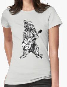 Bear Guitar Womens Fitted T-Shirt