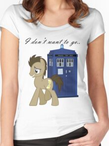 I don't want to go - Doctor Whooves Women's Fitted Scoop T-Shirt