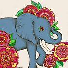 Little Blue Elephant in her secret garden by micklyn