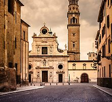 Church and bell tower in Parma, Italy by Silvia Ganora