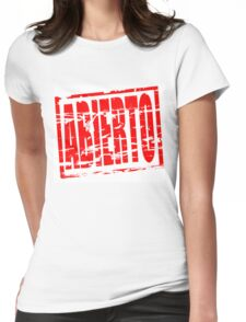 Abierto red rubber stamp effect Womens Fitted T-Shirt