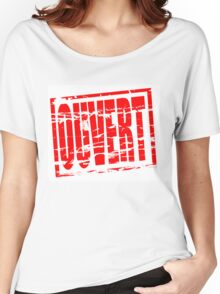 Ouvert red rubber stamp effect Women's Relaxed Fit T-Shirt