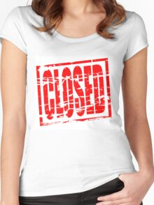 Closed red rubber stamp effect Women's Fitted Scoop T-Shirt