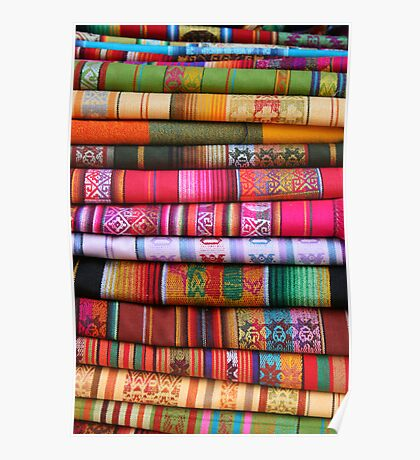 Stacked Table Linens in Otavalo Poster