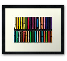 bars of bright and colorful pastel on black background Framed Print
