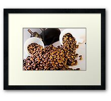 coffee pot two coffee cup and  coffee beans Framed Print