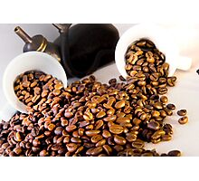 coffee pot two coffee cup and  coffee beans Photographic Print