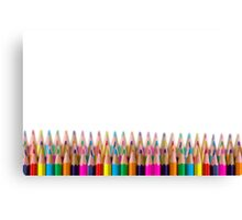 rows of colored pencil on white background Canvas Print