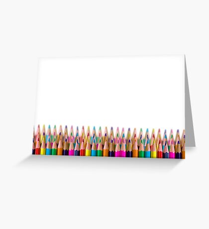 rows of colored pencil on white background Greeting Card