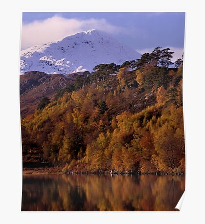 Loch Affric with snowy mountain Poster