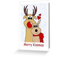 Merry Kissmas - Reindeer - Christmas - Card Greeting Card