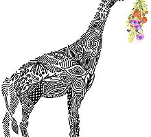 Giraffe with flowers by Kanika Mathur