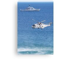 Navy Helicopter and Ship Canvas Print