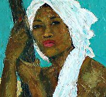 Black Lady with White Head-dress by Jann Ashworth