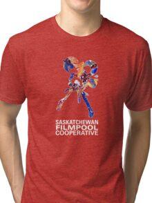 Saskatchewan Filmpool Cooperative large colourful logo - white Tri-blend T-Shirt