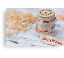 Merry Christmas Ribbon and Reel Canvas Print