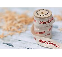 Merry Christmas Ribbon and Reel Photographic Print