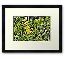 Yellow flowers Linen / Canvas Digital Painting Framed Print
