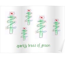 sparkly green trees Poster