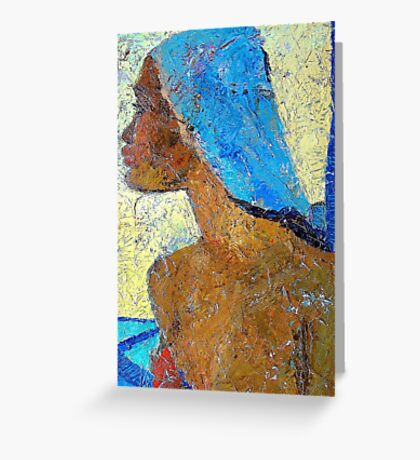 Black Lady with Blue Head-dress Greeting Card