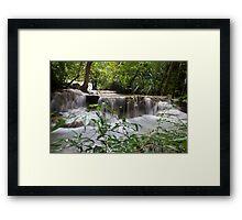 Cascade through Foliage Framed Print